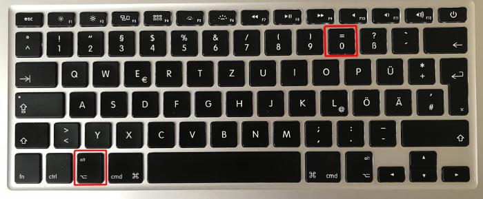 Ungleich-Zeichen Shortcut Mac Tastatur
