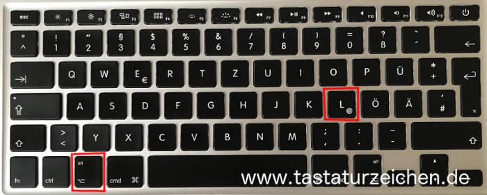 At Zeichen auf Mac Tastatur - Tastenkombination für E-Mail Adressen